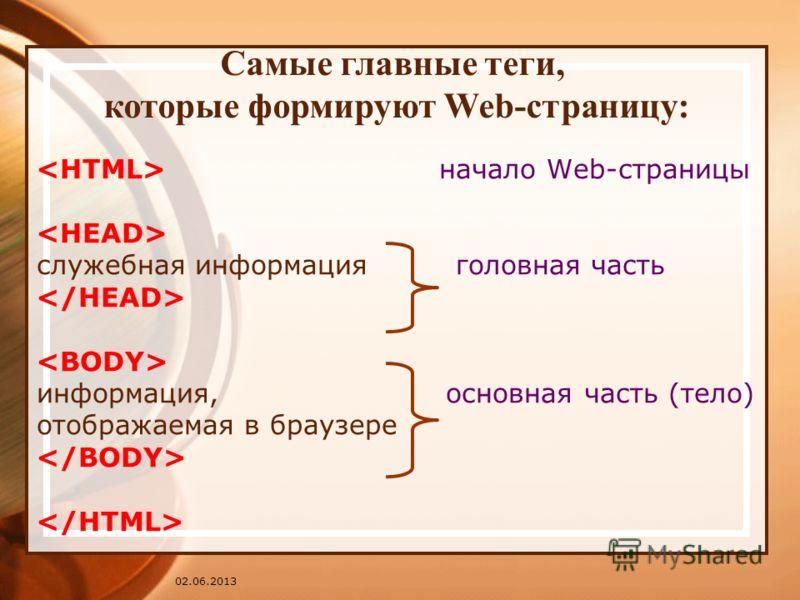 02.06.2013 начало Web-страницы служебная информация головная часть информация, основная часть (тело) отображаемая в браузере Самые главные теги, которые формируют Web-страницу: