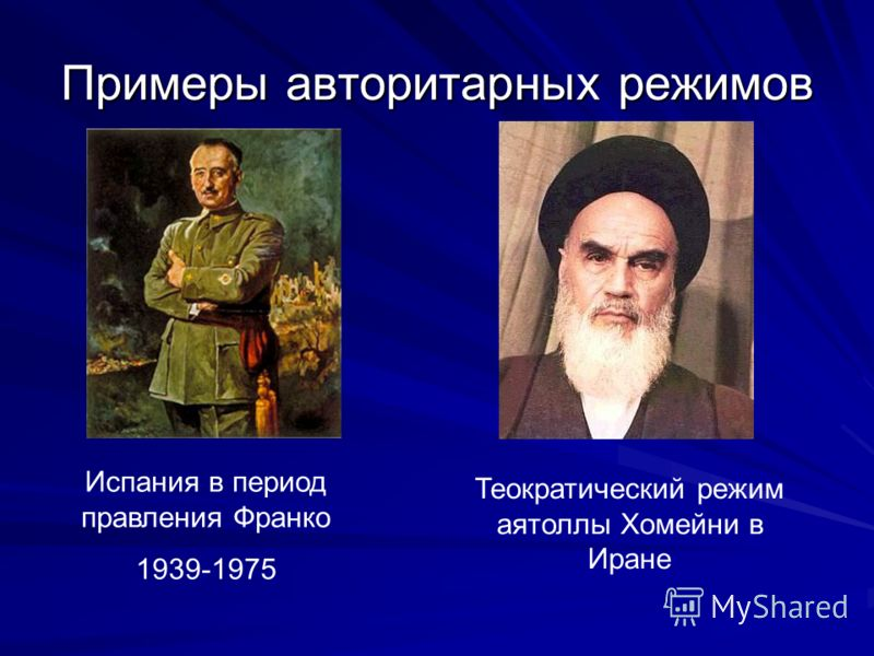 Примеры авторитарных режимов Испания в период правления Франко 1939-1975 Теократический режим аятоллы Хомейни в Иране