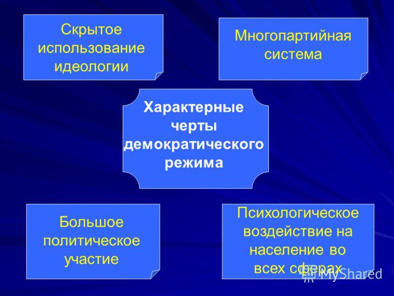 Характерные черты демократического режима Скрытое использование идеологии Многопартийная система Большое политическое участие Психологическое воздействие на население во всех сферах