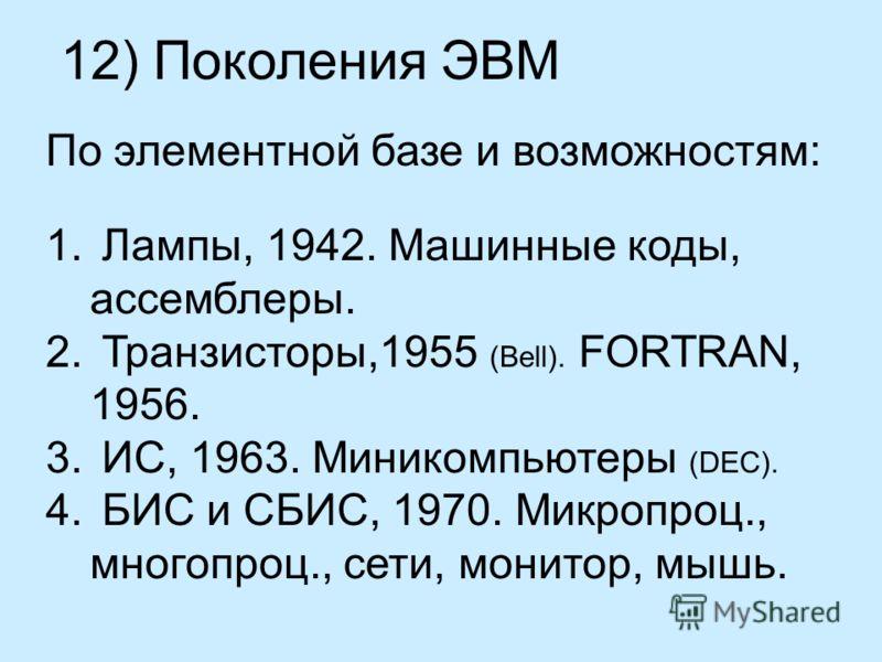 12) Поколения ЭВМ По элементной базе и возможностям: 1. Лампы, 1942. Машинные коды, ассемблеры. 2. Транзисторы,1955 (Bell). FORTRAN, 1956. 3. ИС, 1963. Миникомпьютеры (DEC). 4. БИС и СБИС, 1970. Микропроц., многопроц., сети, монитор, мышь.