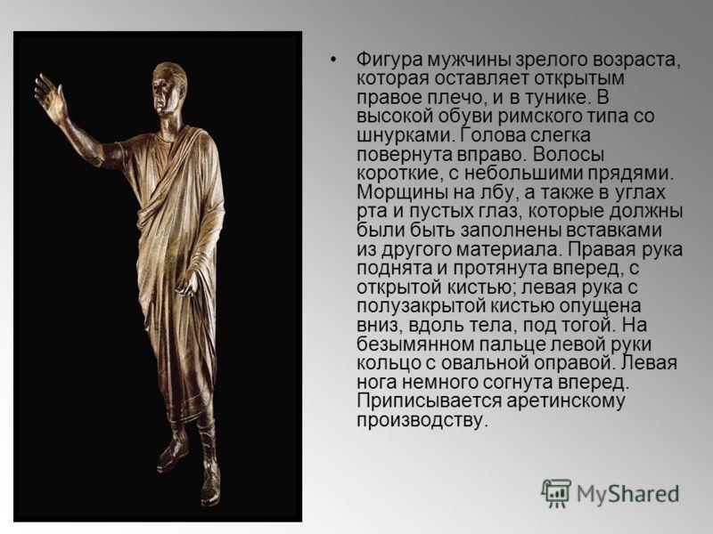 Фигура мужчины зрелого возраста, которая оставляет открытым правое плечо, и в тунике. В высокой обуви римского типа со шнурками. Голова слегка повернута вправо. Волосы короткие, с небольшими прядями. Морщины на лбу, а также в углах рта и пустых глаз,