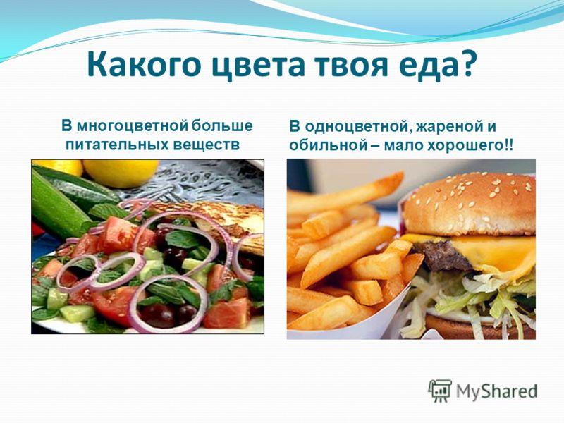 Какого цвета твоя еда? В многоцветной больше питательных веществ В одноцветной, жареной и обильной – мало хорошего!!
