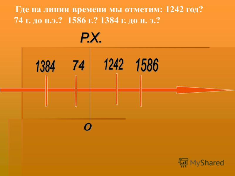 Где на линии времени мы отметим: 1242 год? 74 г. до н.э.? 1586 г.? 1384 г. до н. э.?