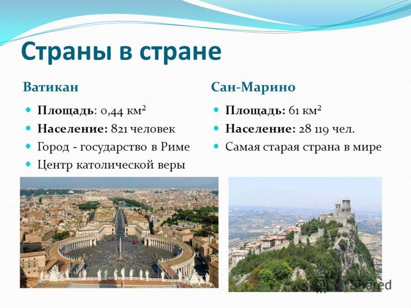 Страны в стране ВатиканСан-Марино Площадь: 0,44 км² Население: 821 человек Город - государство в Риме Центр католической веры Площадь: 61 км² Население: 28 119 чел. Самая старая страна в мире