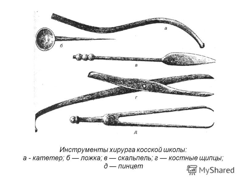 Инструменты хирурга косской школы: а - катетер; б ложка; в скальпель; г костные щипцы; д пинцет