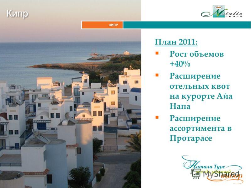 КИПР Кипр План 2011: Рост объемов +40% Расширение отельных квот на курорте Айа Напа Расширение ассортимента в Протарасе