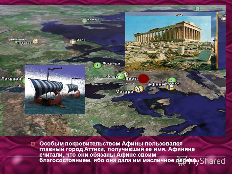 Особым покровительством Афины пользовался главный город Аттики, получивший ее имя. Афиняне считали, что они обязаны Афине своим благосостоянием, ибо она дала им масличное дерево.