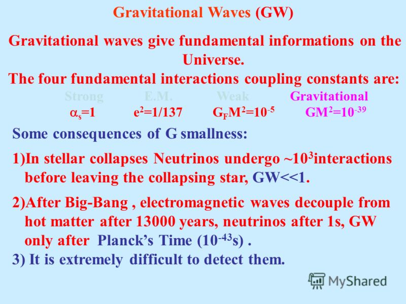 Gravitational Waves (GW) Gravitational waves give fundamental informations on the Universe. The four fundamental interactions coupling constants are: Strong E.M. Weak Gravitational s =1 e 2 =1/137 G F M 2 =10 -5 GM 2 =10 -39 Some consequences of G sm