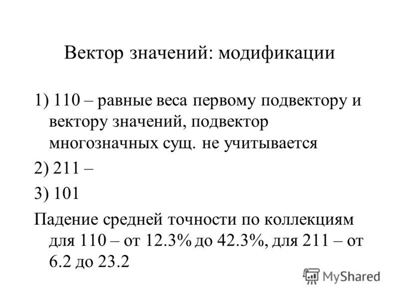 Вектор значений: модификации 1) 110 – равные веса первому подвектору и вектору значений, подвектор многозначных сущ. не учитывается 2) 211 – 3) 101 Падение средней точности по коллекциям для 110 – от 12.3% до 42.3%, для 211 – от 6.2 до 23.2