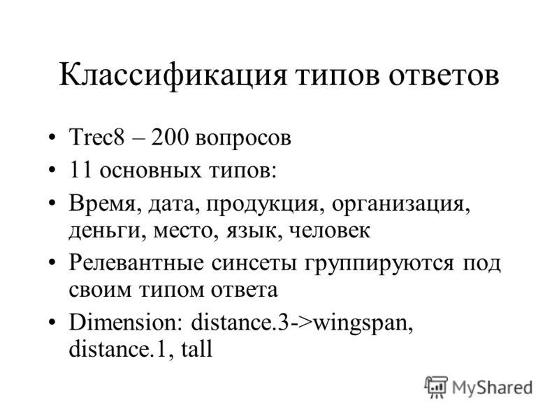 Классификация типов ответов Trec8 – 200 вопросов 11 основных типов: Время, дата, продукция, организация, деньги, место, язык, человек Релевантные синсеты группируются под своим типом ответа Dimension: distance.3->wingspan, distance.1, tall