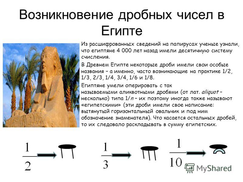 Возникновение дробных чисел в Египте Из расшифрованных сведений на папирусах ученые узнали, что египтяне 4 000 лет назад имели десятичную систему счисления. В Древнем Египте некоторые дроби имели свои особые названия – а именно, часто возникающие на