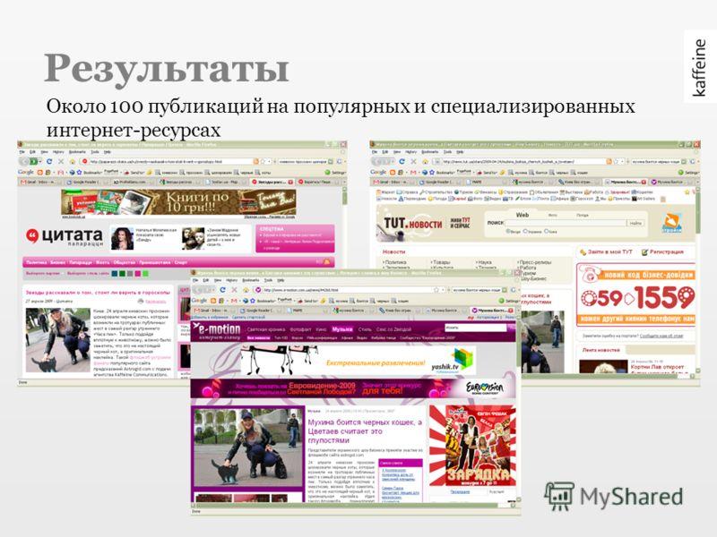 Результаты Около 100 публикаций на популярных и специализированных интернет-ресурсах