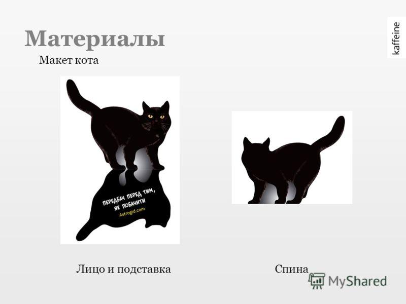 Материалы Макет кота Лицо и подставкаСпина