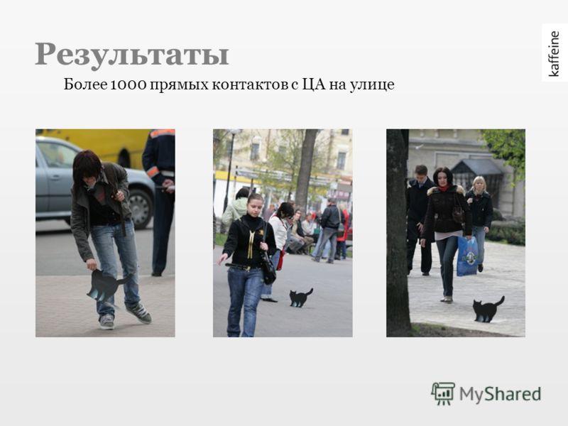 Результаты Более 1000 прямых контактов с ЦА на улице