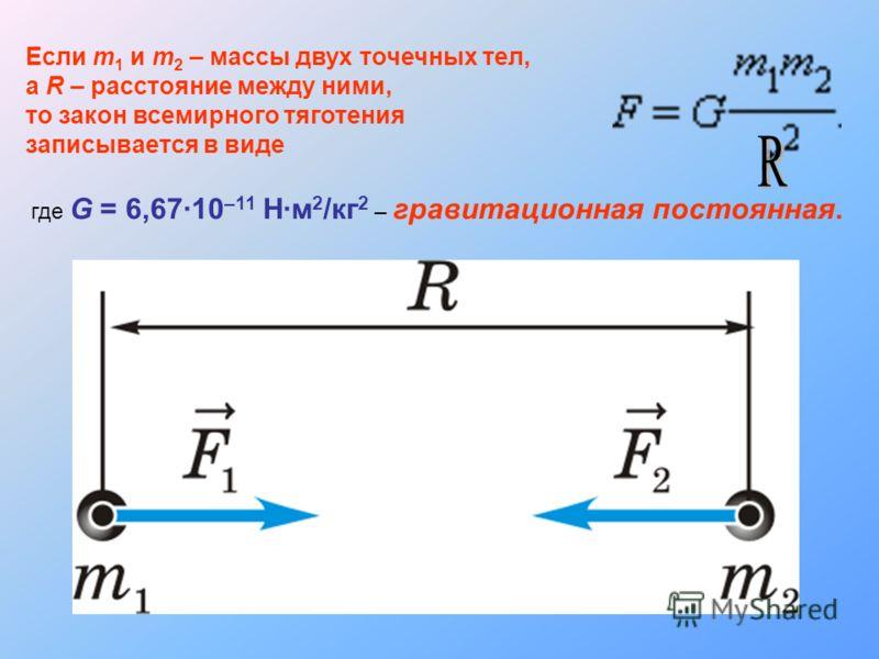 Если m 1 и m 2 – массы двух точечных тел, а R – расстояние между ними, то закон всемирного тяготения записывается в виде где G = 6,6710 –11 Нм 2 /кг 2 – гравитационная постоянная.