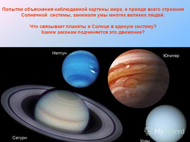 Попытки объяснения наблюдаемой картины мира, и прежде всего строения Солнечной системы, занимали умы многих великих людей. Что связывает планеты и Солнце в единую систему? Каким законам подчиняется это движение?