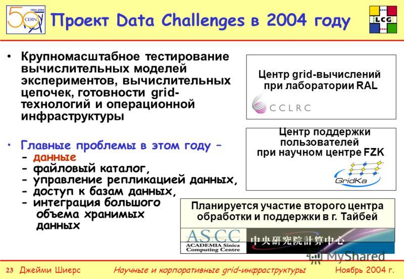 23 Джейми ШиерсНоябрь 2004 г.Научные и корпоративные grid-инфраструктуры Проект Data Challenges в 2004 году Крупномасштабное тестирование вычислительных моделей экспериментов, вычислительных цепочек, готовности grid- технологий и операционной инфраст