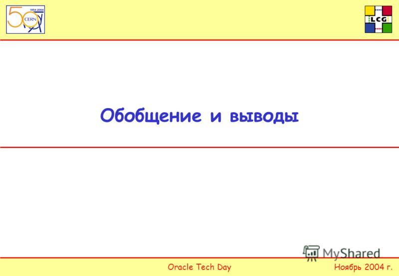 Oracle Tech DayНоябрь 2004 г. Обобщение и выводы