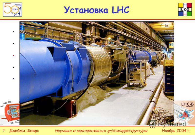 7 77 7 Джейми ШиерсНоябрь 2004 г.Научные и корпоративные grid-инфраструктуры Установка LHC Два движущихся по кругу встречных пучка протонов Энергия столкновения 7 + 7 ТэВ 27 км магнитов с полем 8,4 Тесла Сверхтекучий гелий, охлажденный до 1,9°K Крупн
