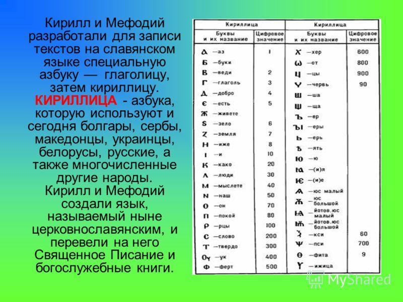 Кирилл и Мефодий разработали для записи текстов на славянском языке специальную азбуку глаголицу, затем кириллицу. КИРИЛЛИЦА - азбука, которую используют и сегодня болгары, сербы, македонцы, украинцы, белорусы, русские, а также многочисленные другие