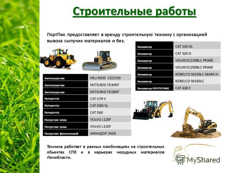 Строительные работы ПортПак предоставляет в аренду строительную технику с организацией вывоза сыпучих материалов и без.Автопогрузчик HELI R030 CDCD30 Автопогрузчик MITSUBISI FD30NT Автопогрузчик MITSUBISI FD18NT Бульдозер CAT D7R II Бульдозер CAT D6N
