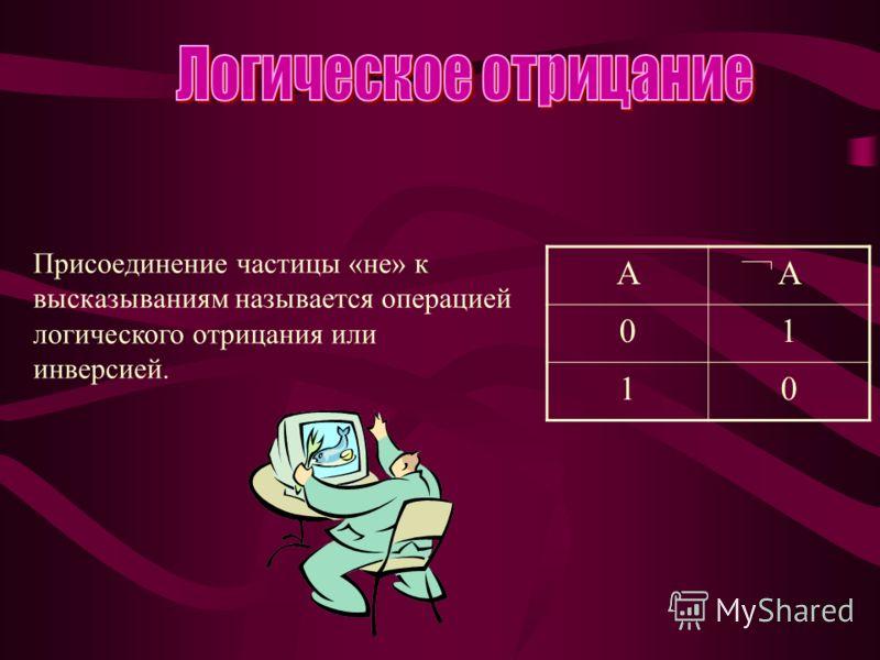 Присоединение частицы «не» к высказываниям называется операцией логического отрицания или инверсией. AA 01 10