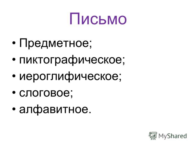 Письмо Предметное; пиктографическое; иероглифическое; слоговое; алфавитное.