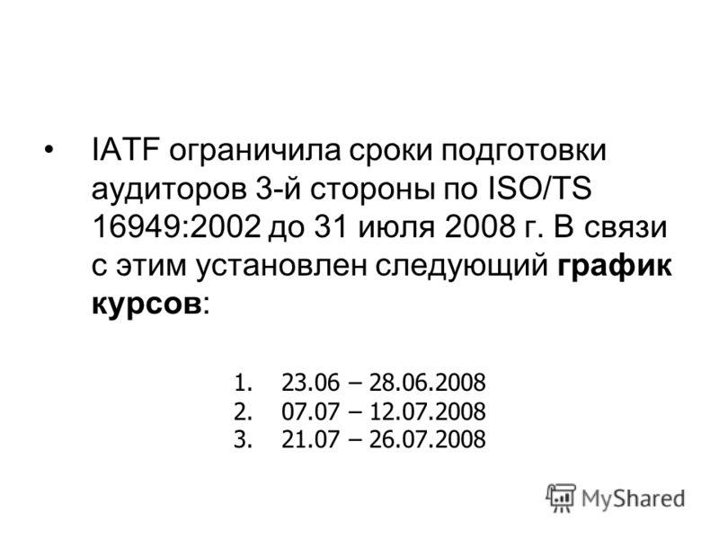 IATF ограничила сроки подготовки аудиторов 3-й стороны по ISO/TS 16949:2002 до 31 июля 2008 г. В связи с этим установлен следующий график курсов: 1.23.06 – 28.06.2008 2.07.07 – 12.07.2008 3.21.07 – 26.07.2008