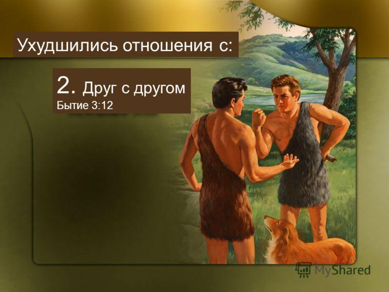 Ухудшились отношения с: 2. Друг с другом Бытие 3:12