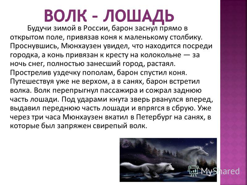 Будучи зимой в России, барон заснул прямо в открытом поле, привязав коня к маленькому столбику. Проснувшись, Мюнхаузен увидел, что находится посреди городка, а конь привязан к кресту на колокольне за ночь снег, полностью занесший город, растаял. Прос