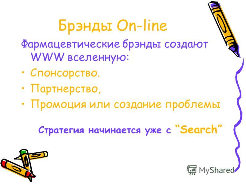 Брэнды On-line Фармацевтические брэнды создают WWW вселенную: Спонсорство. Партнерство, Промоция или создание проблемы Стратегия начинается уже с Search