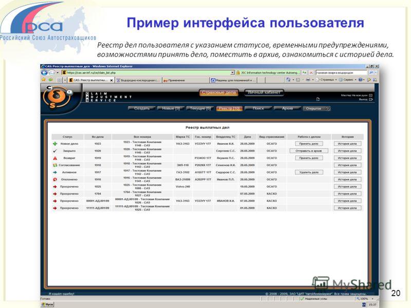 20 Пример интерфейса пользователя Реестр дел пользователя с указанием статусов, временн ы ми предупреждениями, возможностями принять дело, поместить в архив, ознакомиться с историей дела.