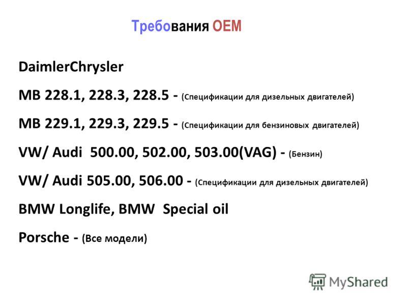 DaimlerChrysler MB 228.1, 228.3, 228.5 - (Спецификации для дизельных двигателей) MB 229.1, 229.3, 229.5 - (Спецификации для бензиновых двигателей) VW/ Audi 500.00, 502.00, 503.00(VAG) - (Бензин) VW/ Audi 505.00, 506.00 - (Спецификации для дизельных д