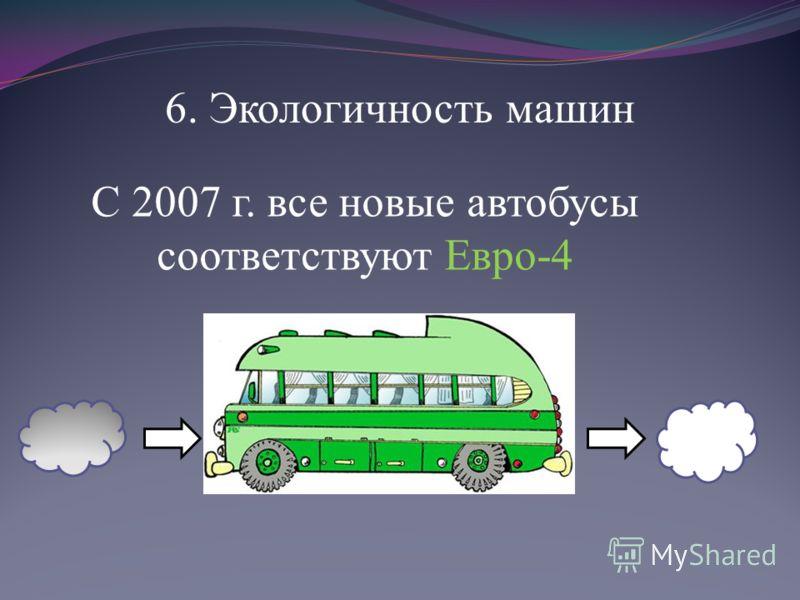 6. Экологичность машин С 2007 г. все новые автобусы соответствуют Евро-4