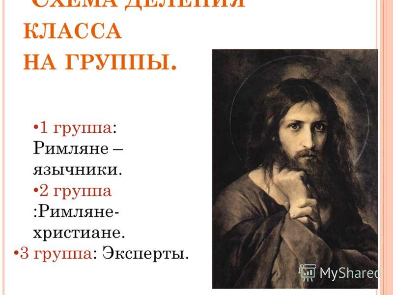 С ХЕМА ДЕЛЕНИЯ КЛАССА НА ГРУППЫ. 1 группа: Римляне – язычники. 2 группа :Римляне- христиане. 3 группа: Эксперты.