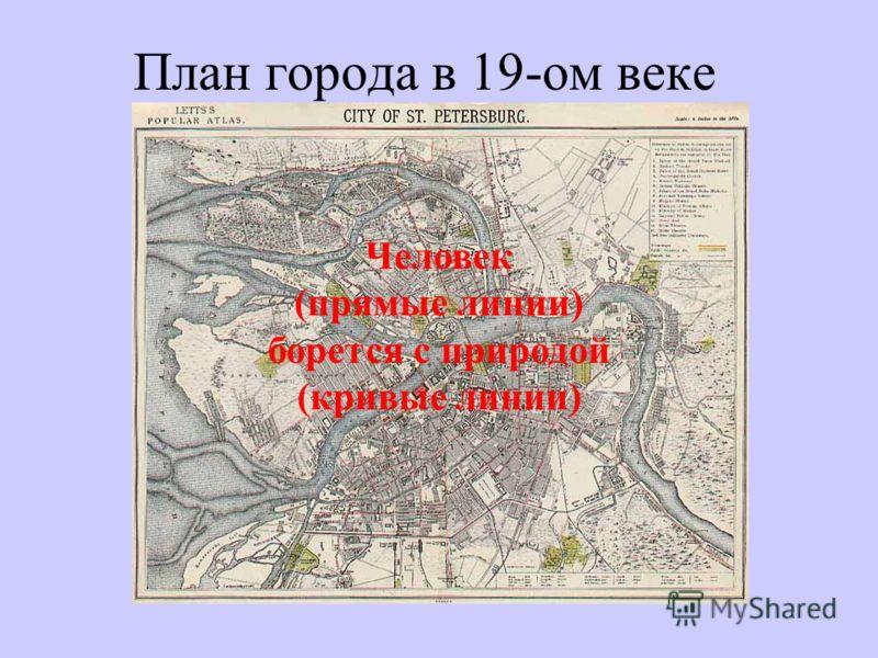 План города в 19-ом веке Человек (прямые линии) борется с природой (кривые линии)