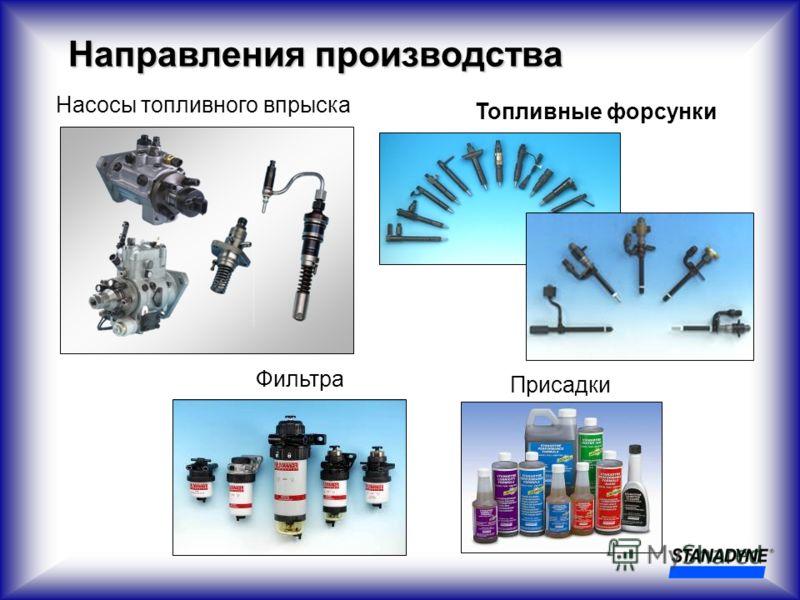Направления производства Насосы топливного впрыска Топливные форсунки Фильтра Присадки