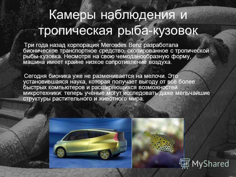 Камеры наблюдения и тропическая рыба-кузовок Три года назад корпорация Mercedes Benz разработала бионическое транспортное средство, скопированное с тропической рыбы-кузовка. Несмотря на свою чемоданообразную форму, машина имеет крайне низкое сопротив