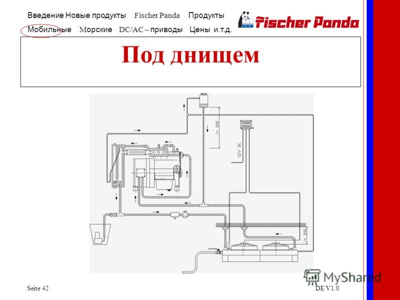 Введение Новые продукты Fischer Panda Продукты Мобильные M орские DC/AC – приводы Цены и.т.д. Seite 42DE V1.0 Под днищем
