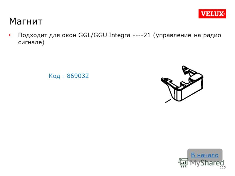Магнит Подходит для окон GGL/GGU Integra ----21 (управление на радио сигнале) Код - 869032 115 В начало