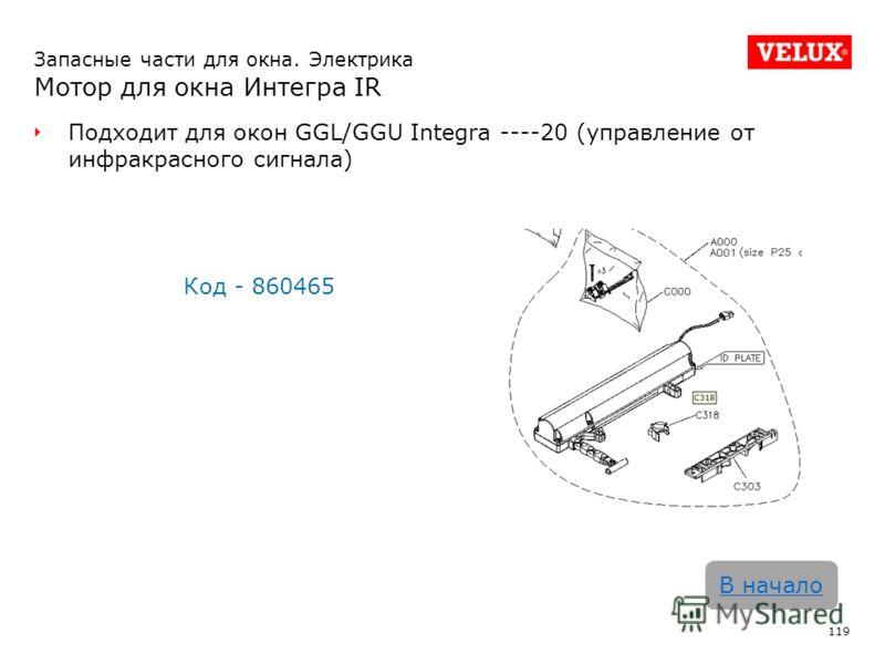 Запасные части для окна. Электрика Мотор для окна Интегра IR Подходит для окон GGL/GGU Integra ----20 (управление от инфракрасного сигнала) Код - 860465 119 В начало
