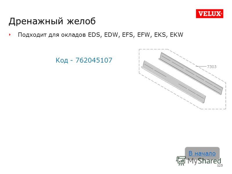 Дренажный желоб Подходит для окладов EDS, EDW, EFS, EFW, EKS, EKW Код - 762045107 125 В начало