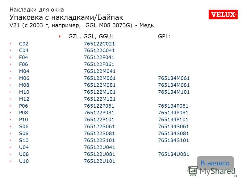14 В начало Накладки для окна Упаковка с накладками/Байпак V21 (с 2003 г, например, GGL M08 3073G) - Медь GZL, GGL, GGU:GPL: C02765122C021 C04765122C041 F04765122F041 F06765122F061 M04765122M041 M06765122M061765134M061 M08765122M081765134M081 M107651