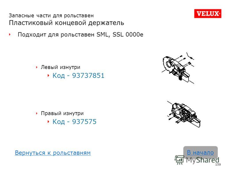 Запасные части для рольставен Пластиковый концевой держатель Подходит для рольставен SML, SSL 0000e Левый изнутри Код - 93737851 Правый изнутри Код - 937575 159 В начало Вернуться к рольставням