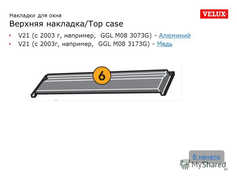 V21 (с 2003 г, например, GGL M08 3073G) - АлюминийАлюминий V21 (с 2003г, например, GGL M08 3173G) - МедьМедь 16 В начало Накладки для окна Верхняя накладка/Top case
