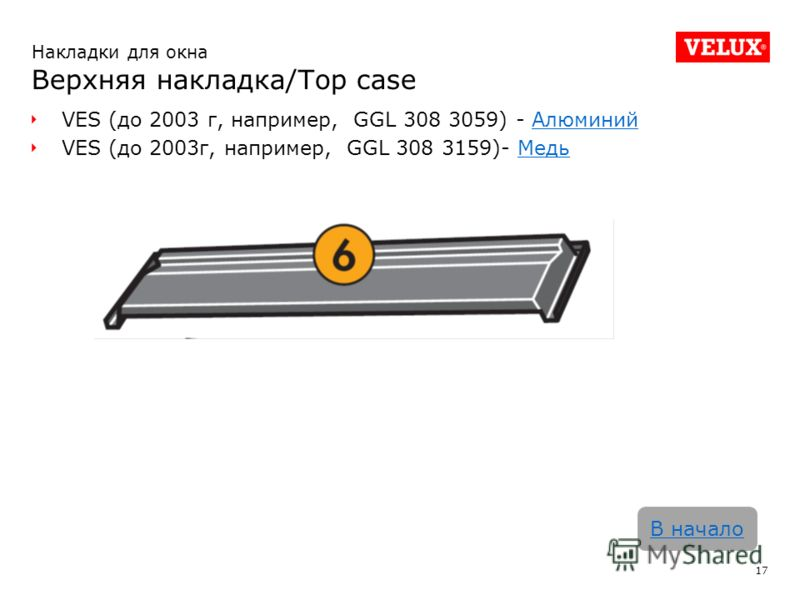 VES (до 2003 г, например, GGL 308 3059) - АлюминийАлюминий VES (до 2003г, например, GGL 308 3159)- МедьМедь 17 В начало Накладки для окна Верхняя накладка/Top case