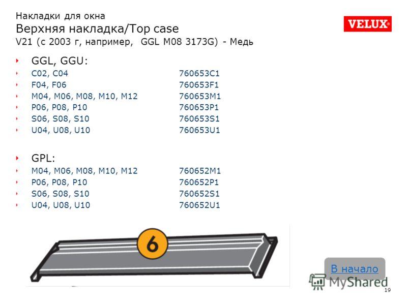 Накладки для окна Верхняя накладка/Top case V21 (с 2003 г, например, GGL M08 3173G) - Медь 19 В начало GGL, GGU: C02, C04760653C1 F04, F06760653F1 M04, M06, M08, M10, M12760653M1 P06, P08, P10760653P1 S06, S08, S10760653S1 U04, U08, U10760653U1 GPL:
