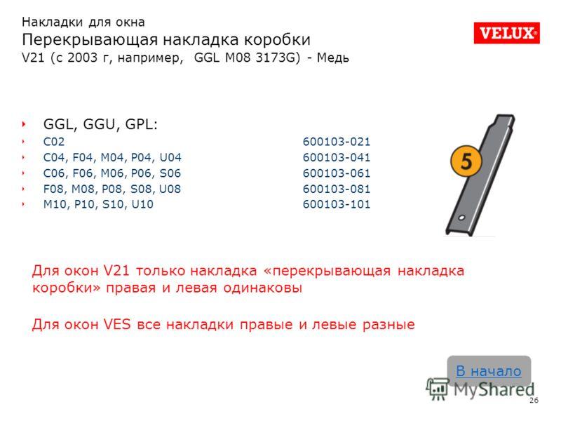Накладки для окна Перекрывающая накладка коробки V21 (с 2003 г, например, GGL M08 3173G) - Медь 26 В начало GGL, GGU, GPL: C02 600103-021 C04, F04, M04, P04, U04600103-041 C06, F06, M06, P06, S06600103-061 F08, M08, P08, S08, U08600103-081 M10, P10,