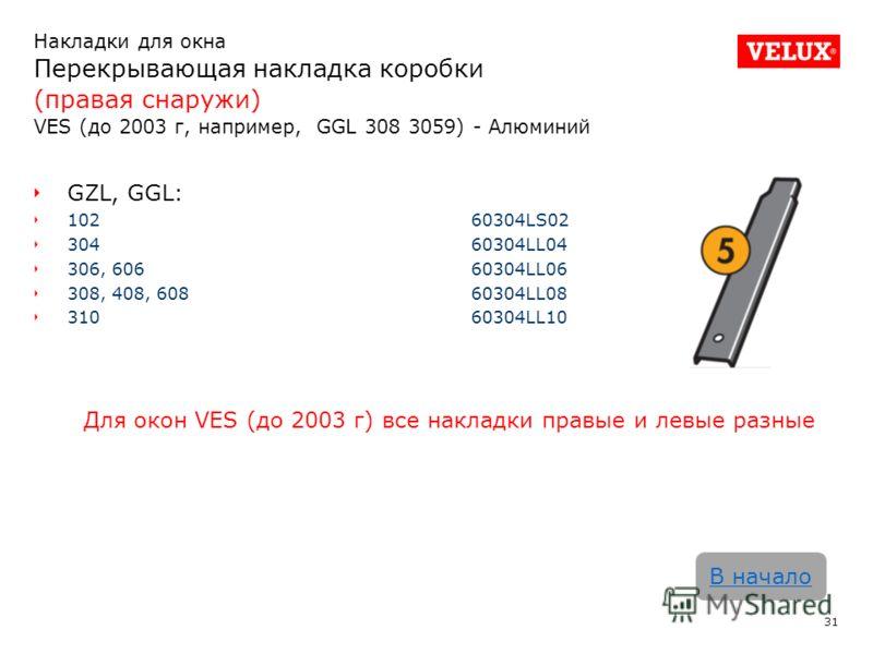 Накладки для окна Перекрывающая накладка коробки (правая снаружи) VES (до 2003 г, например, GGL 308 3059) - Алюминий 31 В начало GZL, GGL: 102 60304LS02 30460304LL04 306, 60660304LL06 308, 408, 60860304LL08 31060304LL10 Для окон VES (до 2003 г) все н