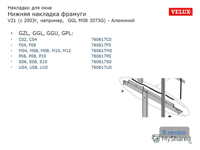 62 В начало GZL, GGL, GGU, GPL: C02, C04760617C0 F04, F06760617F0 M04, M06, M08, M10, M12760617M0 P06, P08, P10760617P0 S06, S08, S10760617S0 U04, U08, U10760617U0 Накладки для окна Нижняя накладка фрамуги V21 (с 2003г, например, GGL M08 3073G) - Алю